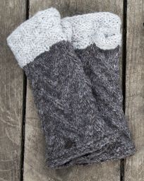 Fleece lined wristwarmer  ' v' knit - Marl Brown