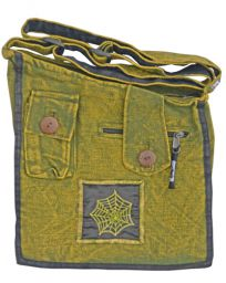 Stonewashed - multi pocketed - spider web bag - green