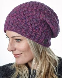 Pure Wool - Weave Baggy Beanie - Pink Heather