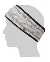 Fleece lined headband - cable - Marl grey