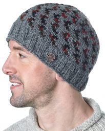 Pure wool - Wings Beanie - Grey/red/green