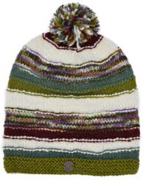 Hand knit - electric stripe - bobble slouch - Green