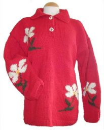 Hand knit, pure wool - Jumper With Flowers - Red