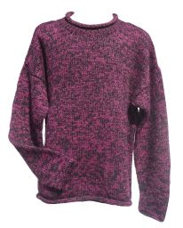 hand knit jumper -  two tone - Blackberry