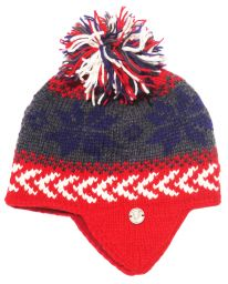 half fleece lined - snowflake defender hat - Blue/Red/Grey