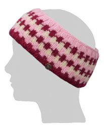 Fleece lined headband - geometric - pink/white