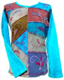 Patchwork Embroidered - Stonewashed Top - Turquoise
