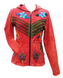 ***SALE*** - 'Cut' and applique flower - hooded jacket - red