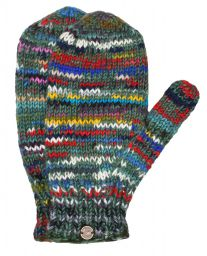 Fleece lined mittens - Electric - Greens