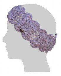 Fleece lined - headband - crochet sparkle - Lilac
