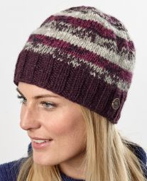 Pure wool - electric beanie - Aubergine