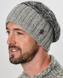Hand knit - moss two tone - baggy beanie - Pale grey
