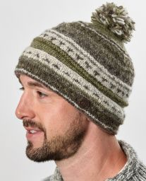 pure wool - turn up pattern bobble - soft brown/lichen