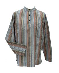 NEW SEASON - Light weight - Striped Cotton Shirt - Pale Multi