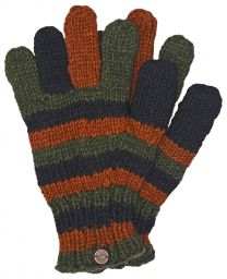 Fleece lined - pure new wool - striped gloves - Green/Brown/Black