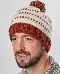 Double tick bobble hat - pure wool - brown / rust