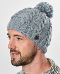 pure wool - cable bobble hat - flint