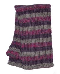 Children's Fleece lined - stripes - wristwarmers - Pink heather stripe