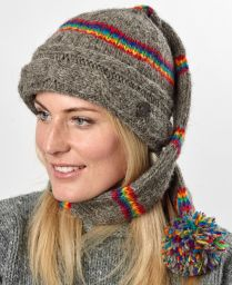 Mid tail hat - cable turn up - pure wool - hand knitted - fleece lining - electric stripe - brown / rainbow