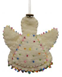 Handmade Felt - Christmas Decoration - Angel - Rainbow Beads