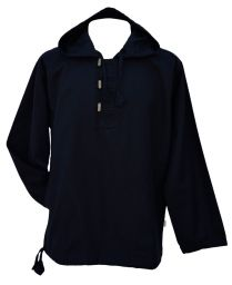 Hooded overshirt - Toggle fastening - Black