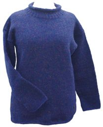 hand knit jumper -  heather - blue