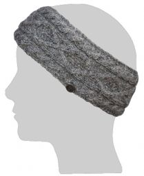 Pure wool - diamond cable headband - grey pepper