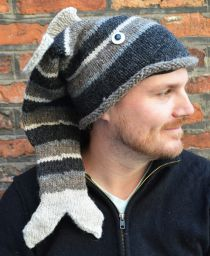 Hand knit - short tailed fish - Greys