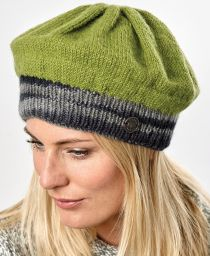 Half Fleece Lined - Contrast Beret - Green/Grey