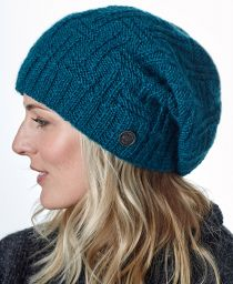 half fleece lined - basket weave slouch - Pacific