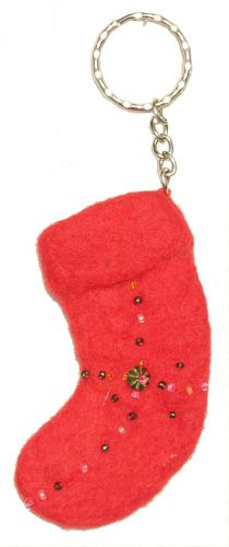 Beaded  Stocking - Key Ring - Red