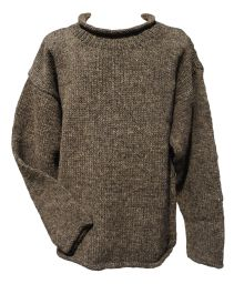 hand knit jumper - Marl brown