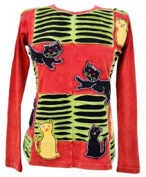 ***SALE*** Seven cat - applique top - red