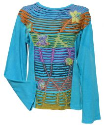 Banded 'cut' - flower applique - stonewashed top - turquoise