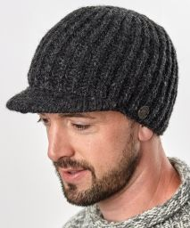 Hand knit - pure wool - ribbed - peak hat - Charcoal