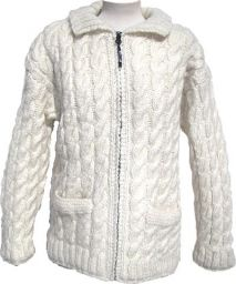 fine wool mix - cable jacket - Cream