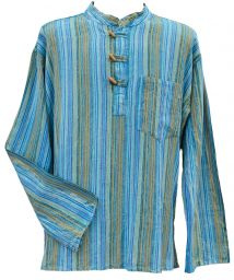 Toggle fastening - stonewashed - kurta - blue