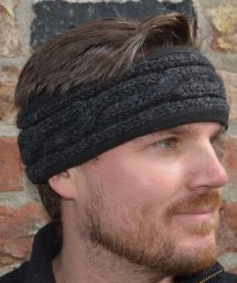 Fleece lined headband - cable - Charcoal
