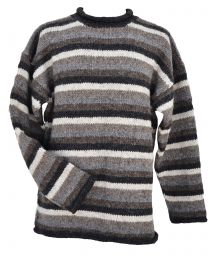 Pure wool jumper - stripe - Natural
