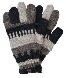 Fleece lined -  pure wool - striped gloves - Charcoal/brown/grey