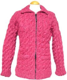 fine wool mix - cable jacket - Raspberry