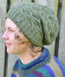 pure wool - bamboo twist slouch - green