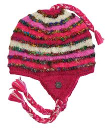 Recycled silk earflap hat - hand knitted - fleece lining - pink