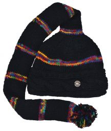 Mid tail hat - cable turn up - pure wool - hand knitted - fleece lining - electric stripe - black / rainbow