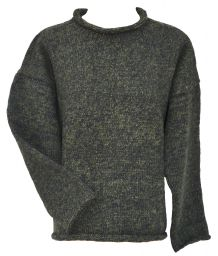 hand knit  jumper - two tone - Green/black