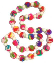 Felt necklace - multi coloured swirls with white dividers