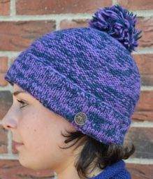 Two tone bobble hat - turn up - pure wool - fleece lining - pansy / blue