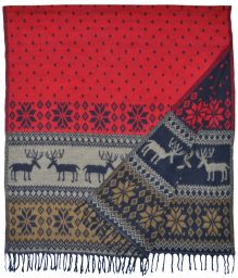 Reindeer - Blanket/shawl - Red