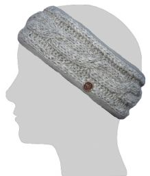 Fleece lined headband - cable - mid Grey