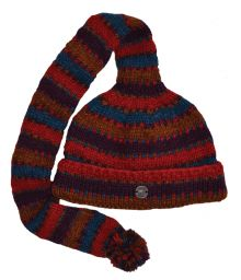 Mid tail hat - turn up - pure wool - hand knitted - fleece lining - red / teal